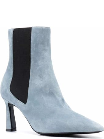 Pollini Pointed Ankle Boots In Light Blue Suede