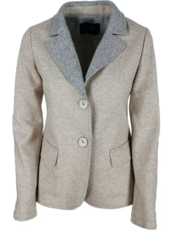 Lorena Antoniazzi Blazer Jacket In Woolen Cloth With Elbow Patches. Closure With 2 Buttons