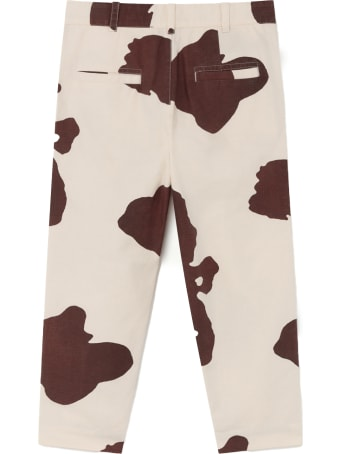 The Animals Observatory Ivory Trousers For Kids With Yellow Logo
