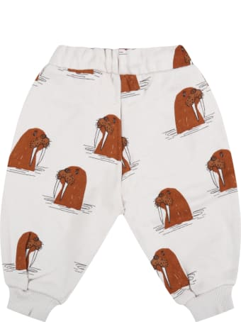 Mini Rodini Grey Sweatpant For Babykids With Walruses