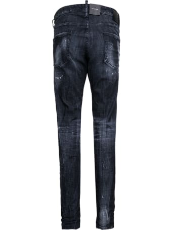 Dsquared2 Black Denim Jeans With Tears Detail And Logo