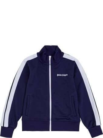 Palm Angels Blue And White Cotton Sweatshirt With Logo