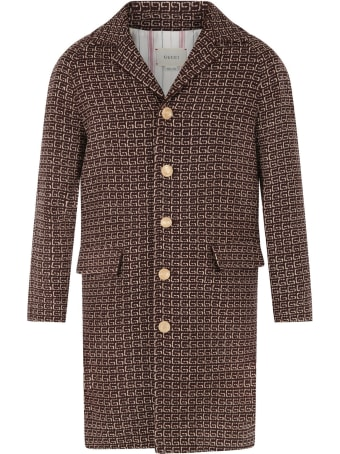 Gucci Brown Coat For Kids With Iconic G