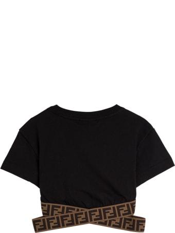 Fendi Black Jersey Crop Top With Ff Elastic