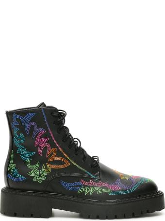 Dawni Western Rainbow Combat Boots