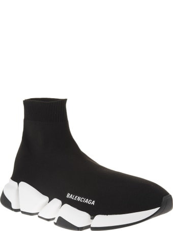 Balenciaga Woman Black And White Speed 2.0 Sneakers