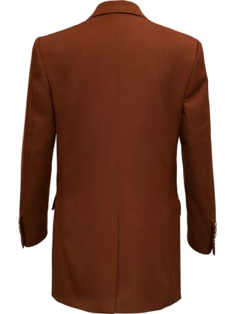Tonello Double-breasted Brown Blazer In Viscose Blend
