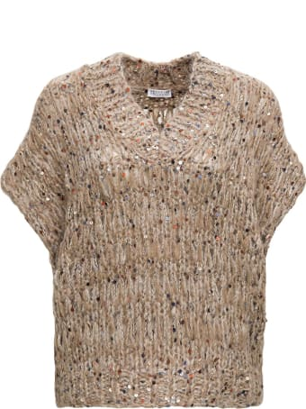 Brunello Cucinelli Brown Mohair Blend Vest With Sequins