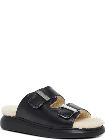 Alexander McQueen Leather And Shearling Black Sandals