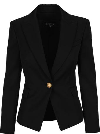 Balmain Black Wool Single-button Blazer