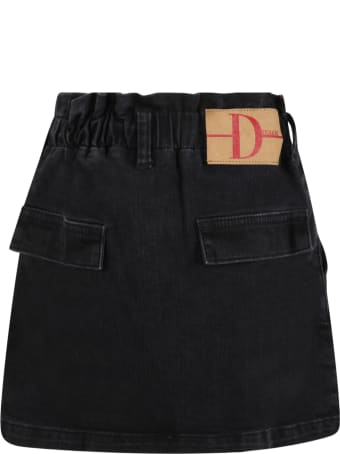 Douuod Black Skirt For Girl With Patch Logo