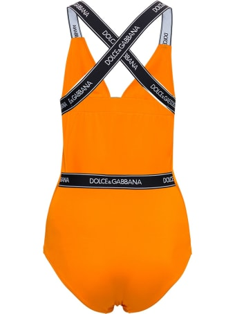 Dolce & Gabbana Orange Swimsuit With Logo