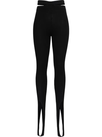Andrea Adamo Ribbed Knit Leggings With Cut Out Details