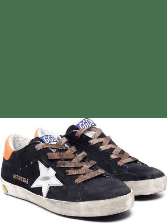 Golden Goose Junior Super-star Sneakers In Navy Blue Suede With Contrast Details
