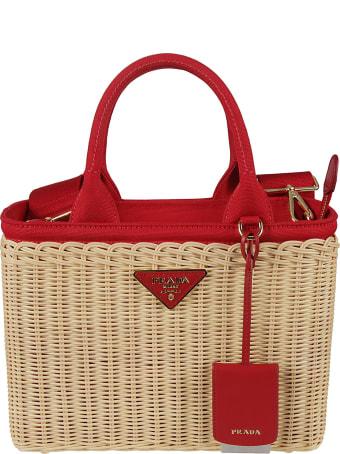Prada Canvas Logo Shopper Bag