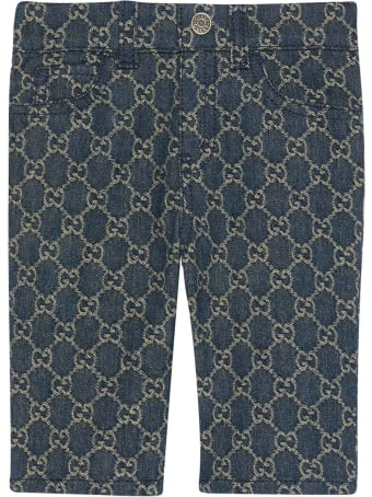 Gucci Blue Trousers With Rear Logo And Pockets