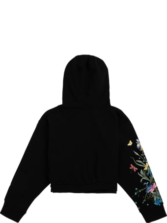 Givenchy Black Cottonhoodie With Floral Logo Print
