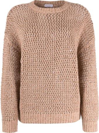 Brunello Cucinelli Wool Blend Sweater With Lurex Inserts