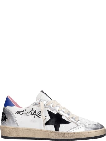 Golden Goose Ball Star Sneakers In White Leather
