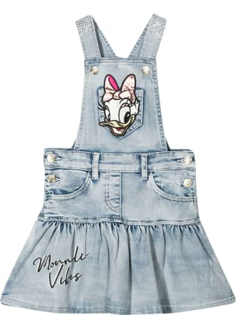 Monnalisa Dungaree Dress With Embroidery