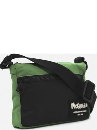 Alexander McQueen Nylon Shoulder Bag With Graffiti Logo Detail