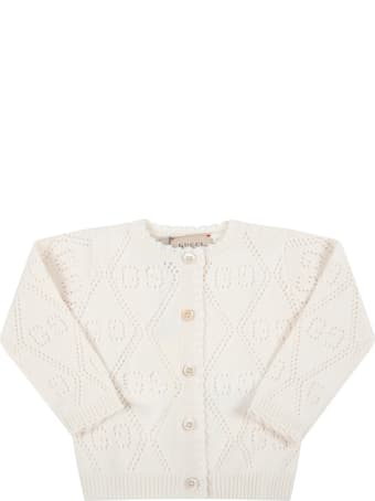 Gucci Ivory Cardigan For Baby Girl With Double Gg