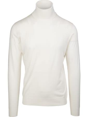 Fedeli Man White Turtleneck Pullover In Cashmere And Silk