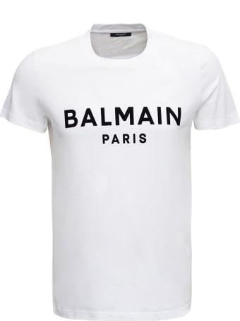 Balmain White Cotton T-shirt With Logo Print