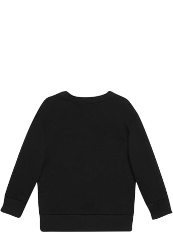 Gucci Black Sweatshirt With Frontal Colored Press, Round Neck And Long Sleeve