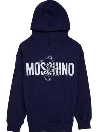 Moschino Blue Cotton Hoodie With Logo Print