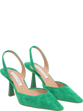 Aquazzura Maia Sling 75 In Green Suede
