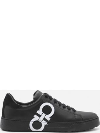 Salvatore Ferragamo Leather Sneakers With Contrasting Gancini Print