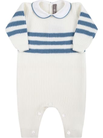 Little Bear White Babygrow For Baby Boy With Light-blue Details