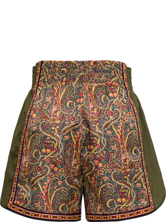 Etro Tech Jersey Shorts With Floral Print And Pegaso