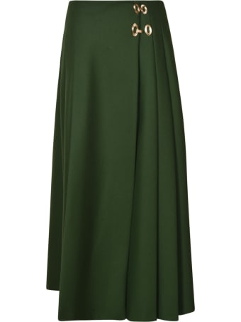 Alberta Ferretti Plain Pleated Long Skirt