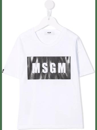 MSGM Kids White And Black Box Logo T-shirt