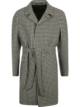 Tagliatore Tie-waist Houndstooth Check Coat