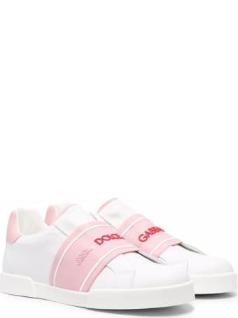 Dolce & Gabbana Leather Sneakers With Logo Band