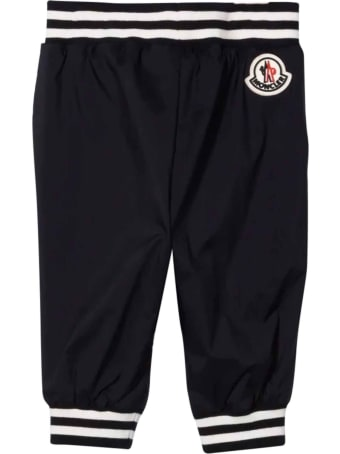 Moncler Blue And White Trousers With Logo