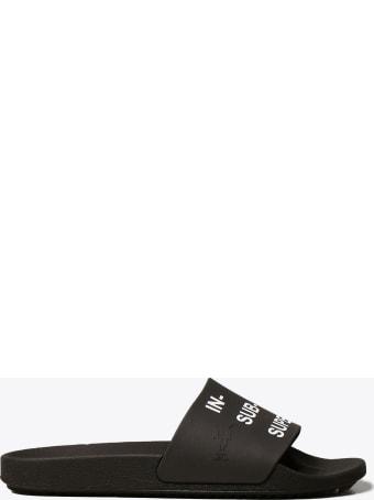DRKSHDW Black Rubber Slide With Slogan Print