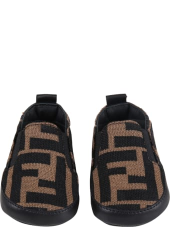 Fendi Brown Sneakers For Babykids With Double Ff