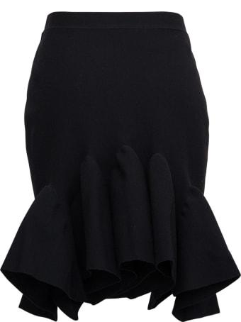 Bottega Veneta Black Wool Skirt With Back Flounce Detail