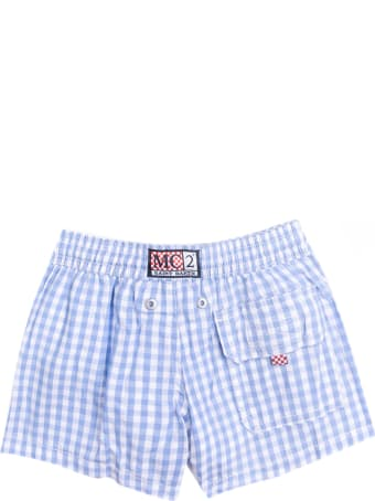 MC2 Saint Barth Light Blue Vichy Cotton Swim Shorts For New Born
