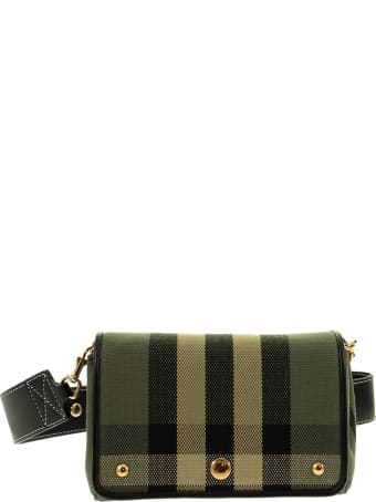 Burberry Hackberry - Small Shoulder Bag With Vintage Check Pattern And Leather Trim