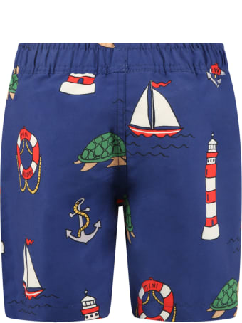 Mini Rodini Blue Swimsuit For Boy With Turtles
