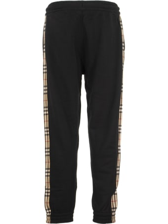 Burberry Checkford - Cotton Jogging Trousers With Vintage Check Inserts
