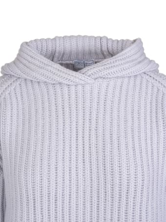 Fedeli Woman Hooded Sweater In Ice Ribbed Cashmere