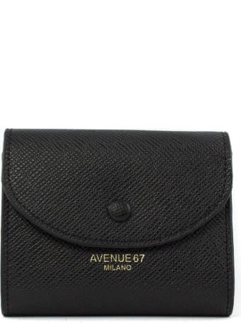 Avenue 67 Black Leather Mini Wallet