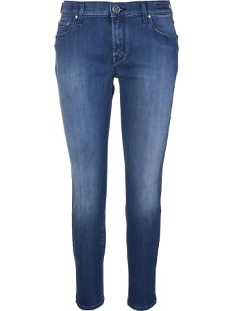 Jacob Cohen Dark Blue Kimberly Crop Skinny Jeans With Delave' Effect