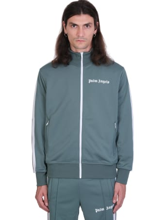 Palm Angels Classic Track Sweatshirt In Green Polyester